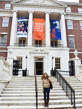Spotted: Little D, editor of Faze Magazine, checking out the Constance Billard School for Girls (which in real life is the Museum of the City of New York)