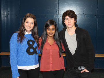Degrassi stars Annie Clark and Munro Chambers with Faze intern Naomi Leanage