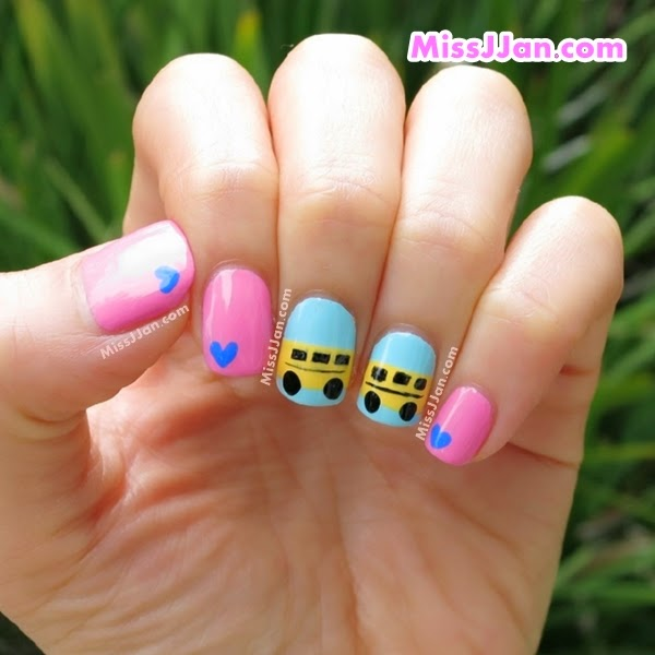 School Bus Nail Art