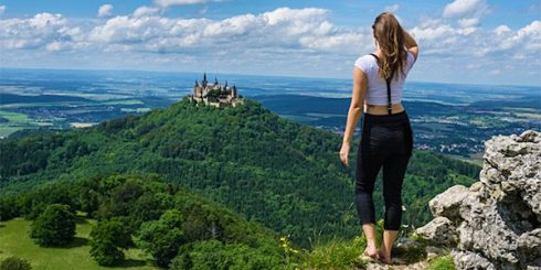 Girl Traveler on Hilltop