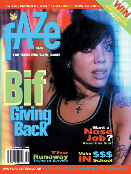 Bif Naked on the cover of Faze Magazine