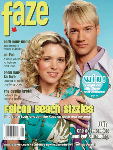 Stars of Falcon Beach on the cover of Faze Magazine