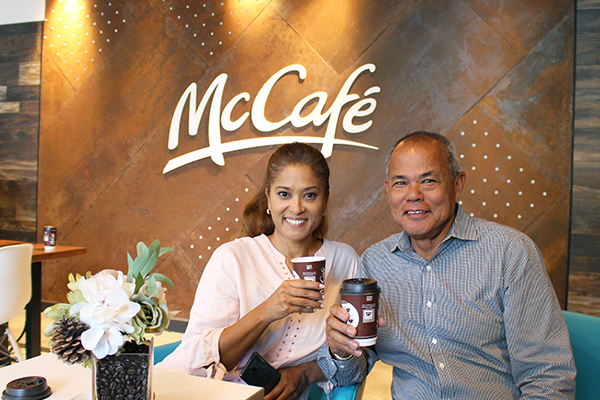 Franchisee Andre Hu-A-Kam & Lorraine Zander at new McDonald's McCafé