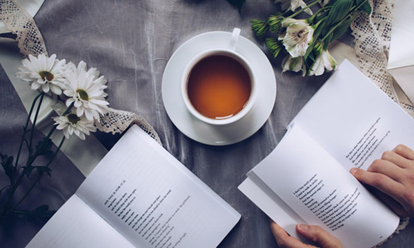 reading poetry and tea